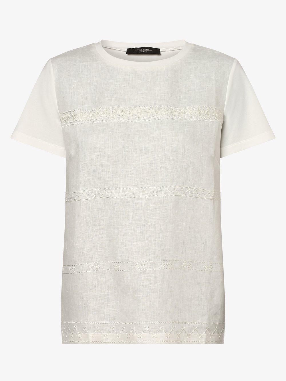 Weekend Max Mara - T-shirt damski z dodatkiem lnu – Ori, beżowy
