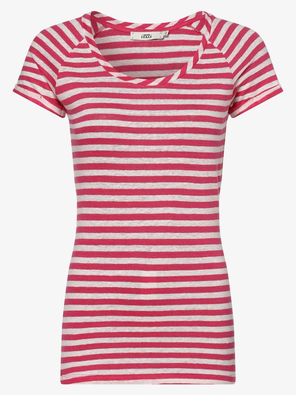 0039 Italy – Damski T-shirt lniany – Amalia Stripe, różowy Van Graaf 464306-0001