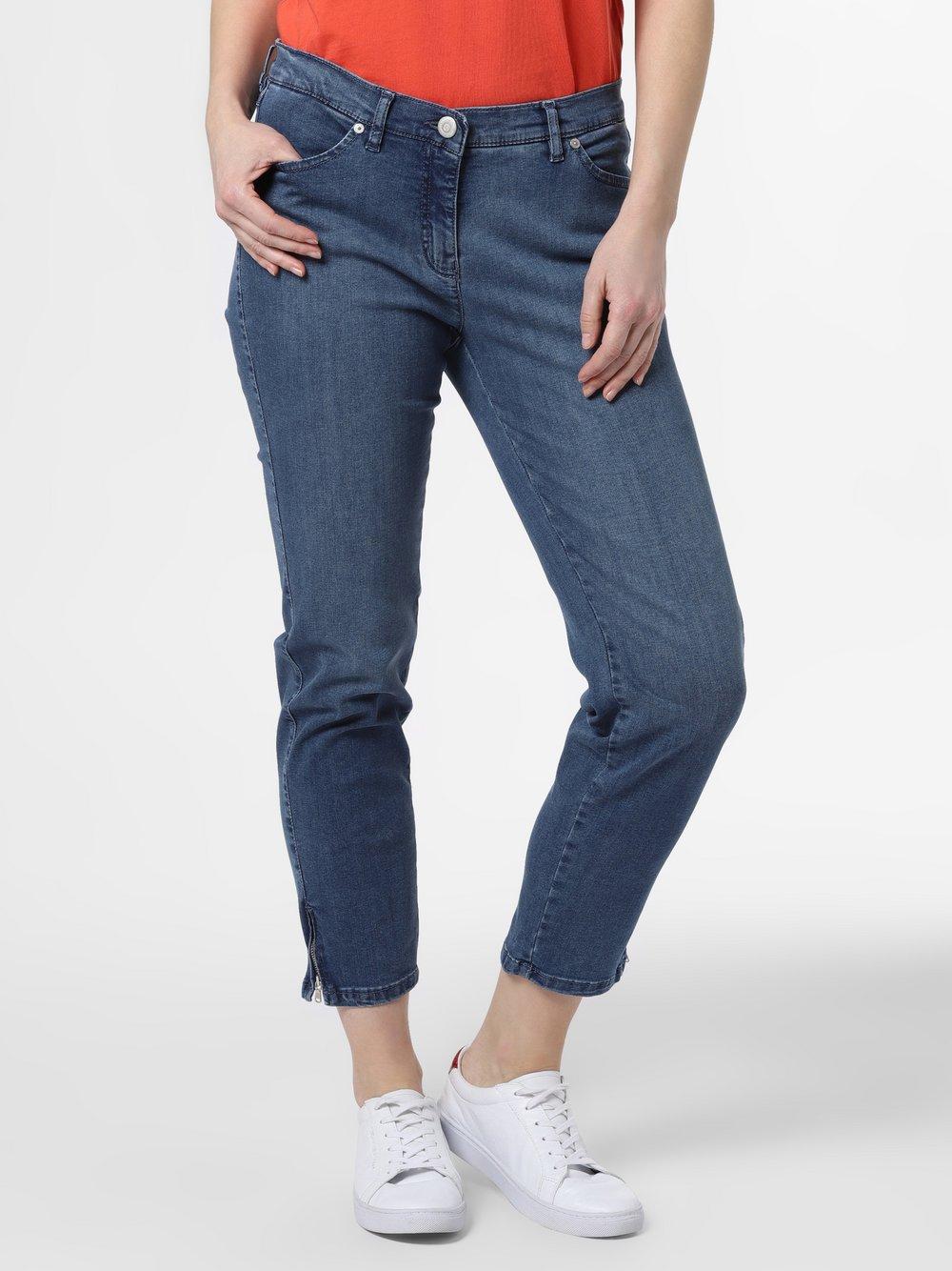 TONI – Jeansy damskie – Perfect Shape Zip, niebieski Van Graaf 464307-0002-00380