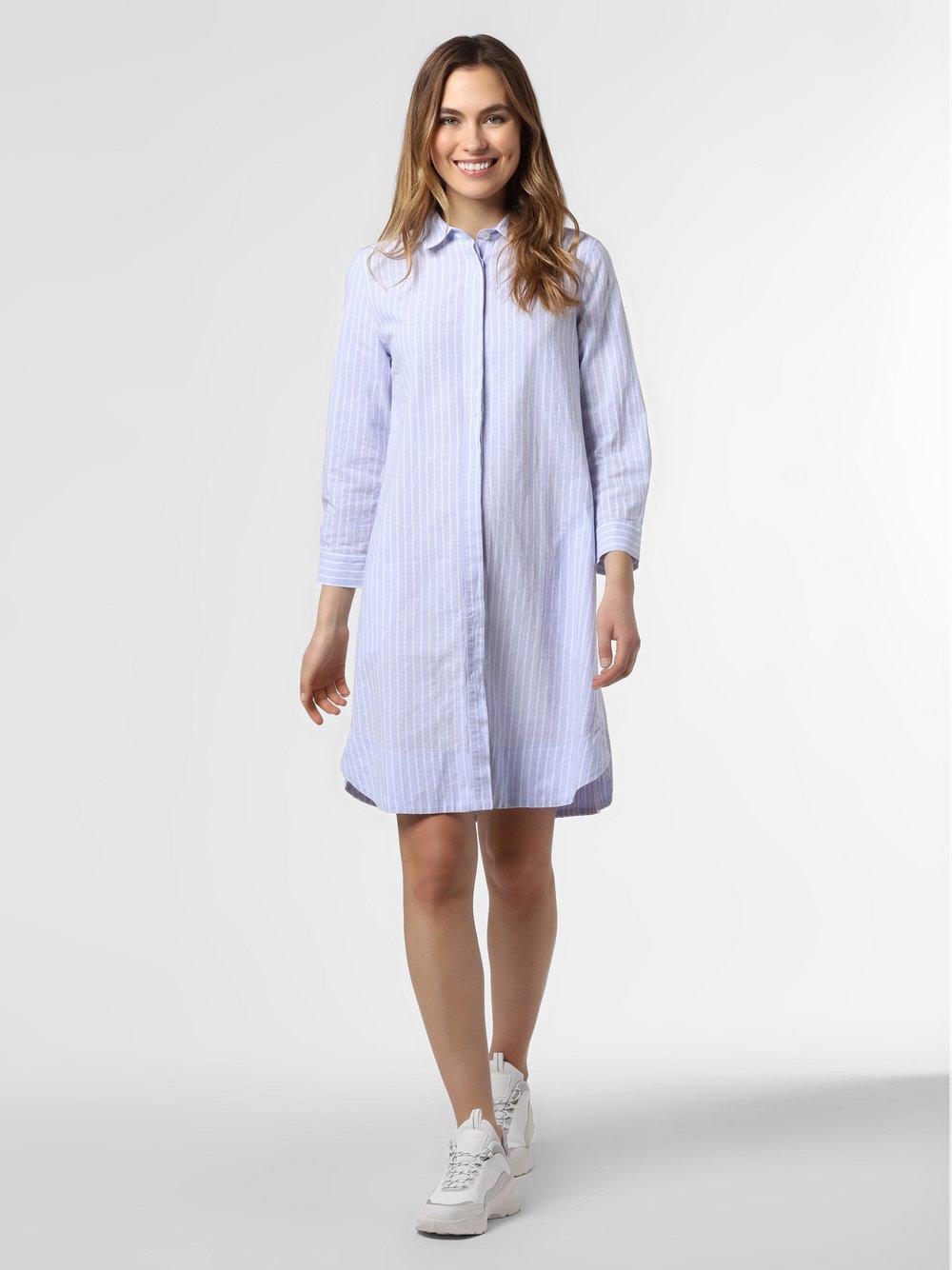 0039 Italy - Sukienka damska z domieszką lnu – Gracia New, niebieski