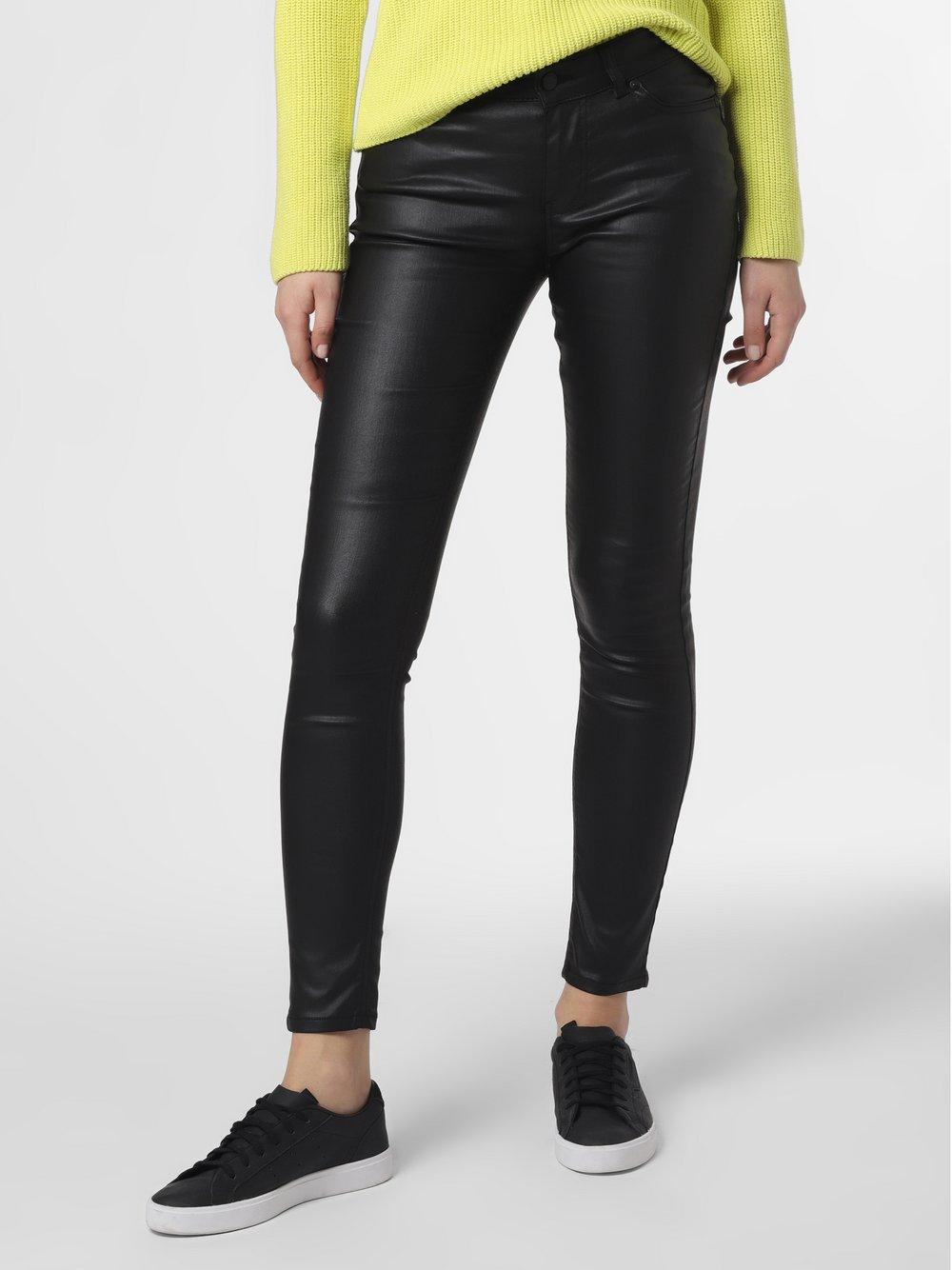 NIKKIE – Spodnie damskie – Betty Coated Skinny, czarny Van Graaf 465052-0001