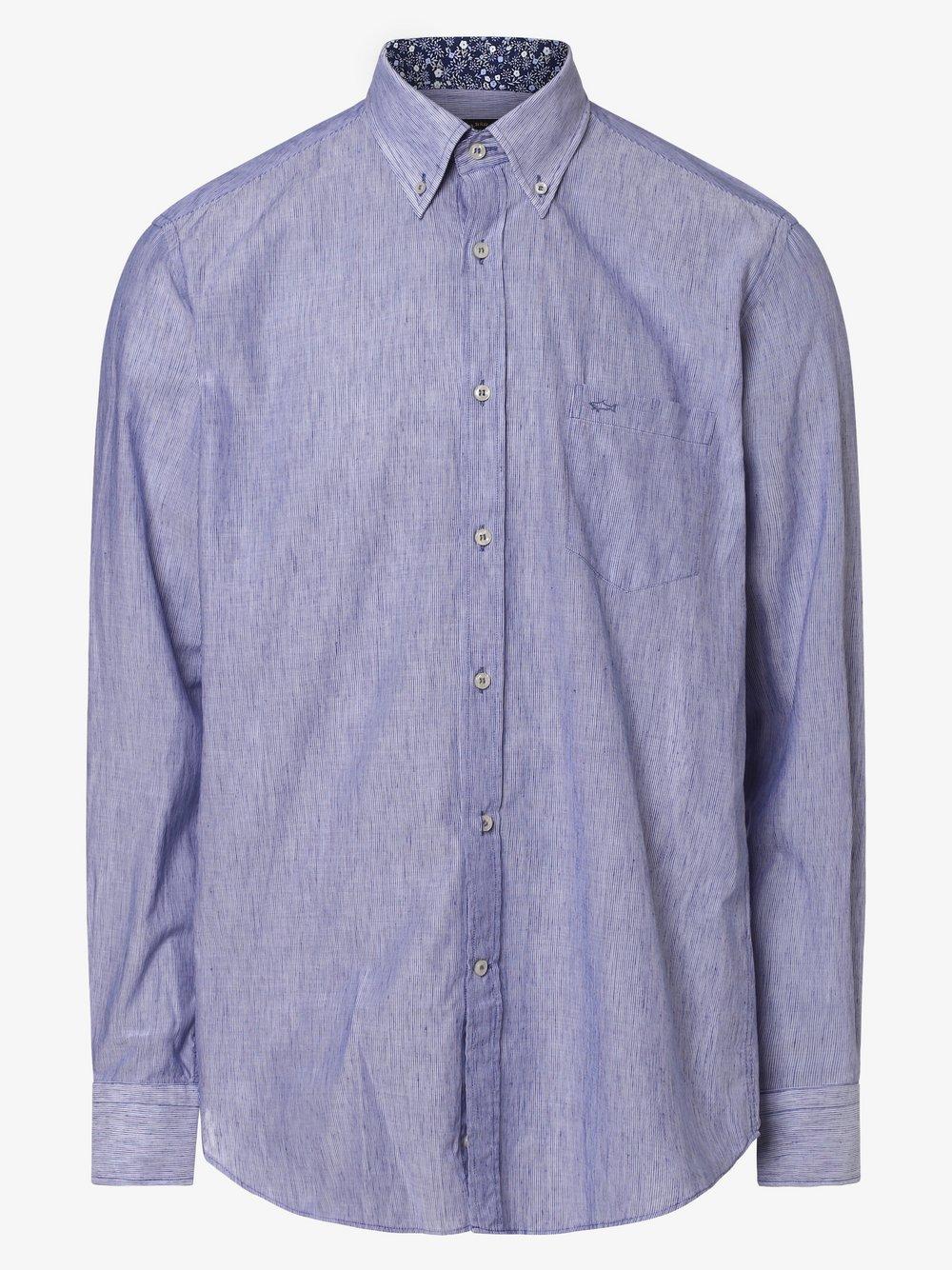 Paul & Shark - Męska koszula z dodatkiem lnu, niebieski