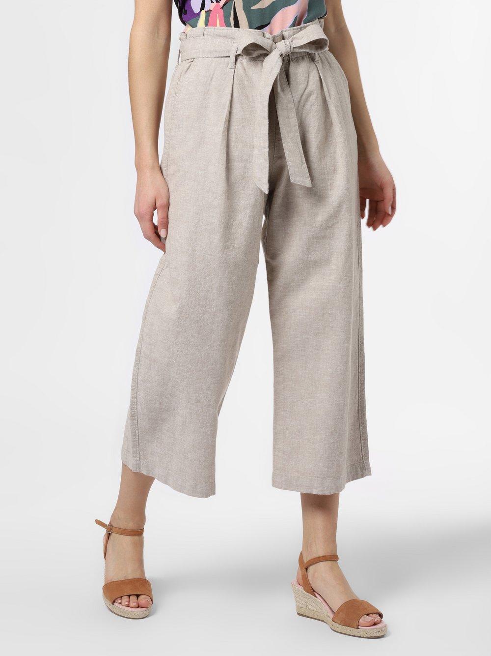 Franco Callegari - Spodnie damskie z dodatkiem lnu, beżowy