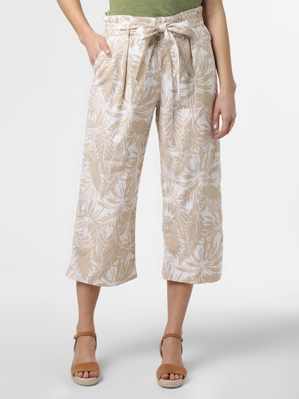 Franco Callegari - Damskie spodnie lniane, beżowy
