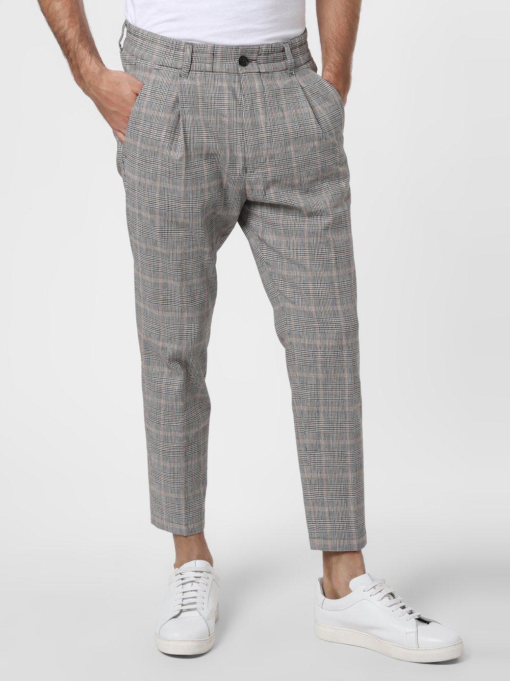 Drykorn - Męskie spodnie od garnituru modułowego z dodatkiem lnu – Chasy, beżowy