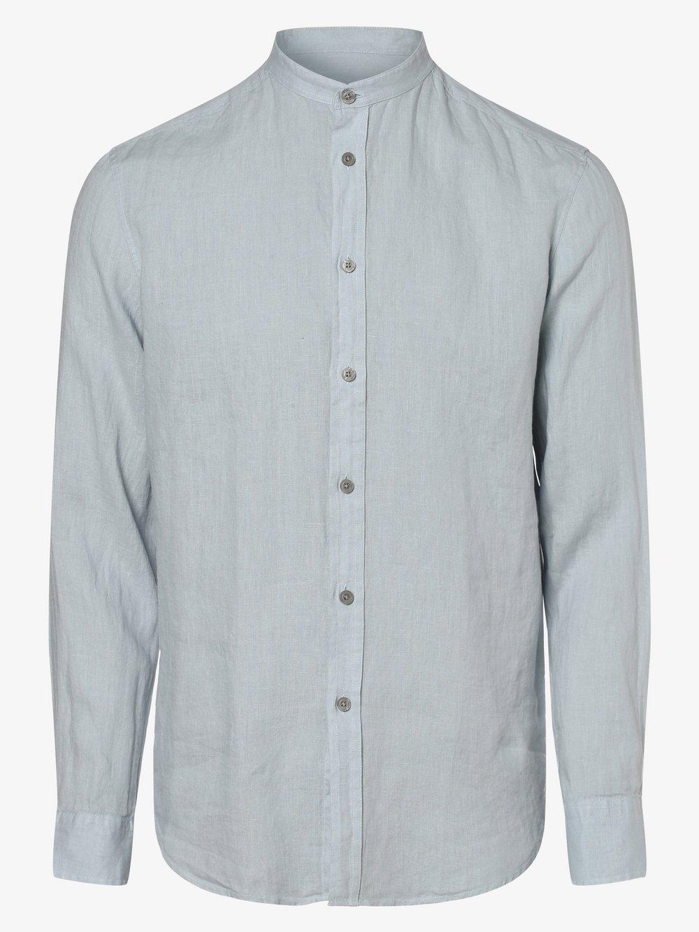 Drykorn - Lniana koszula męska – Tarok, niebieski