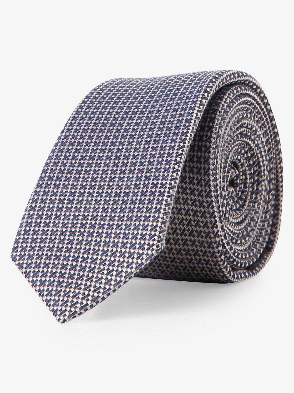 Drykorn - Krawat męski z dodatkiem jedwabiu, niebieski
