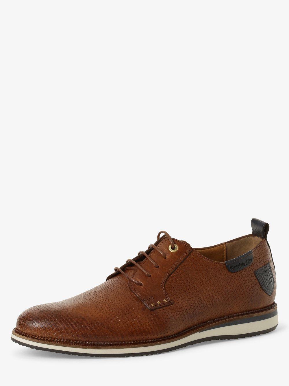 Pantofola d'Oro – Męskie buty sznurowane ze skóry, beżowy Van Graaf 466214-0001-00400