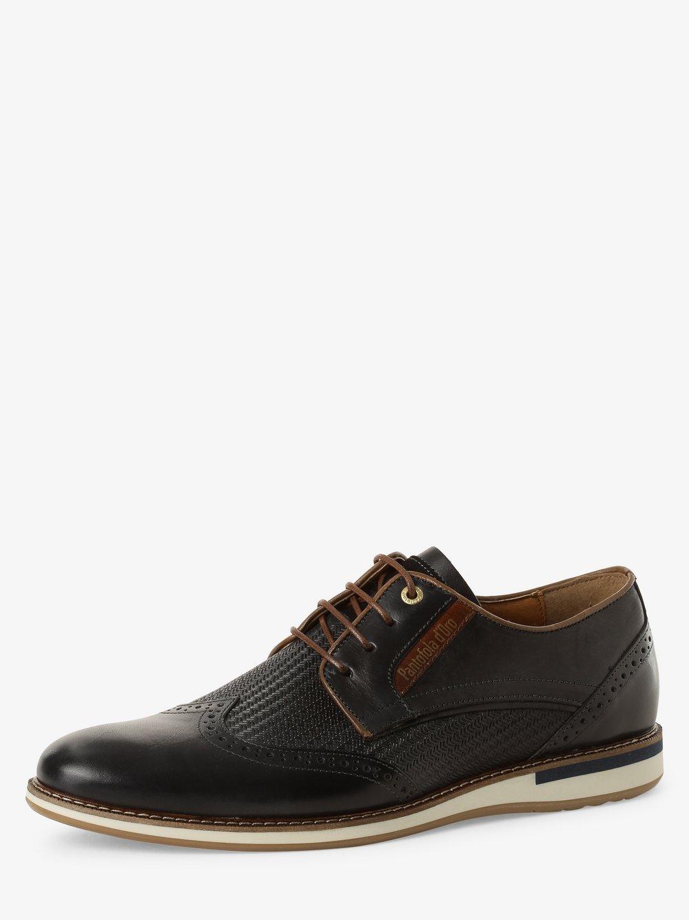 Pantofola d'Oro – Męskie buty sznurowane ze skóry, niebieski Van Graaf 466217-0001-00420