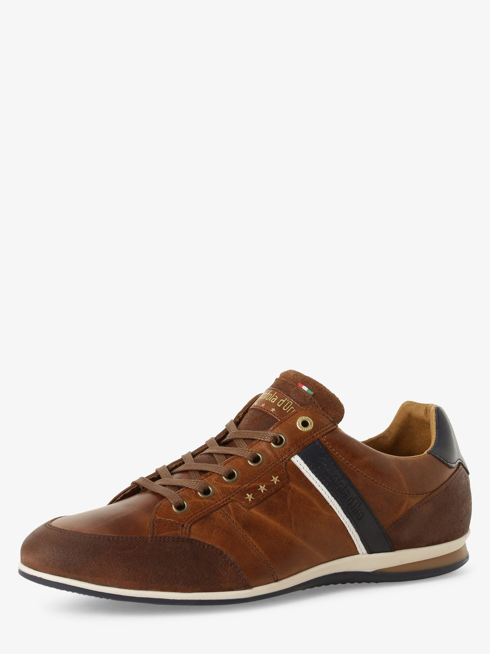 Pantofola d'Oro – Męskie tenisówki ze skóry, beżowy Van Graaf 466218-0001-00410