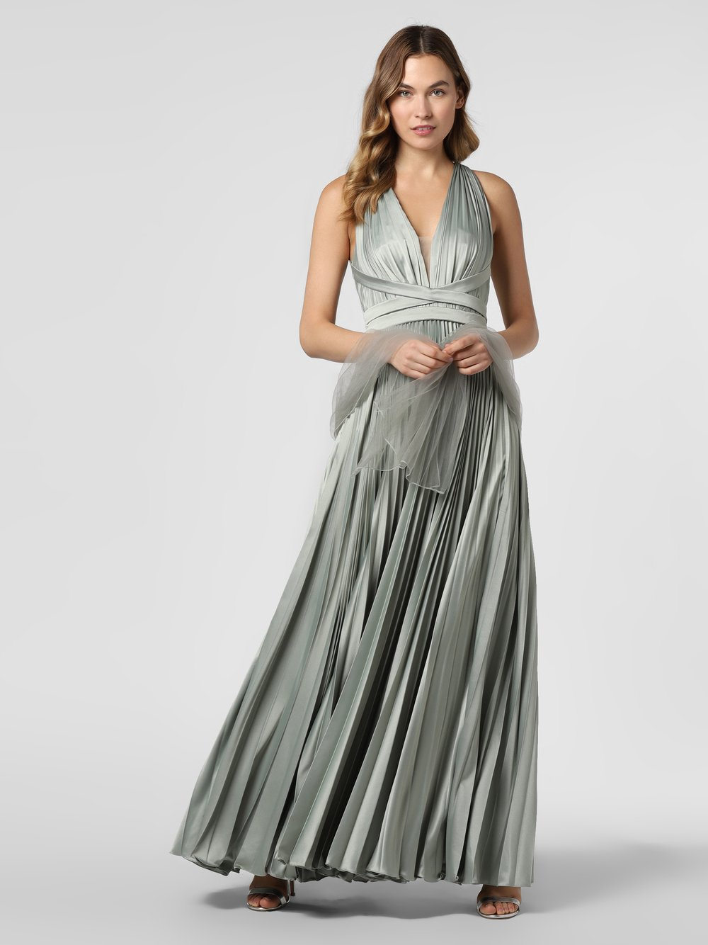 Unique – Damska sukienka wieczorowa z etolą, zielony Van Graaf 466922-0001