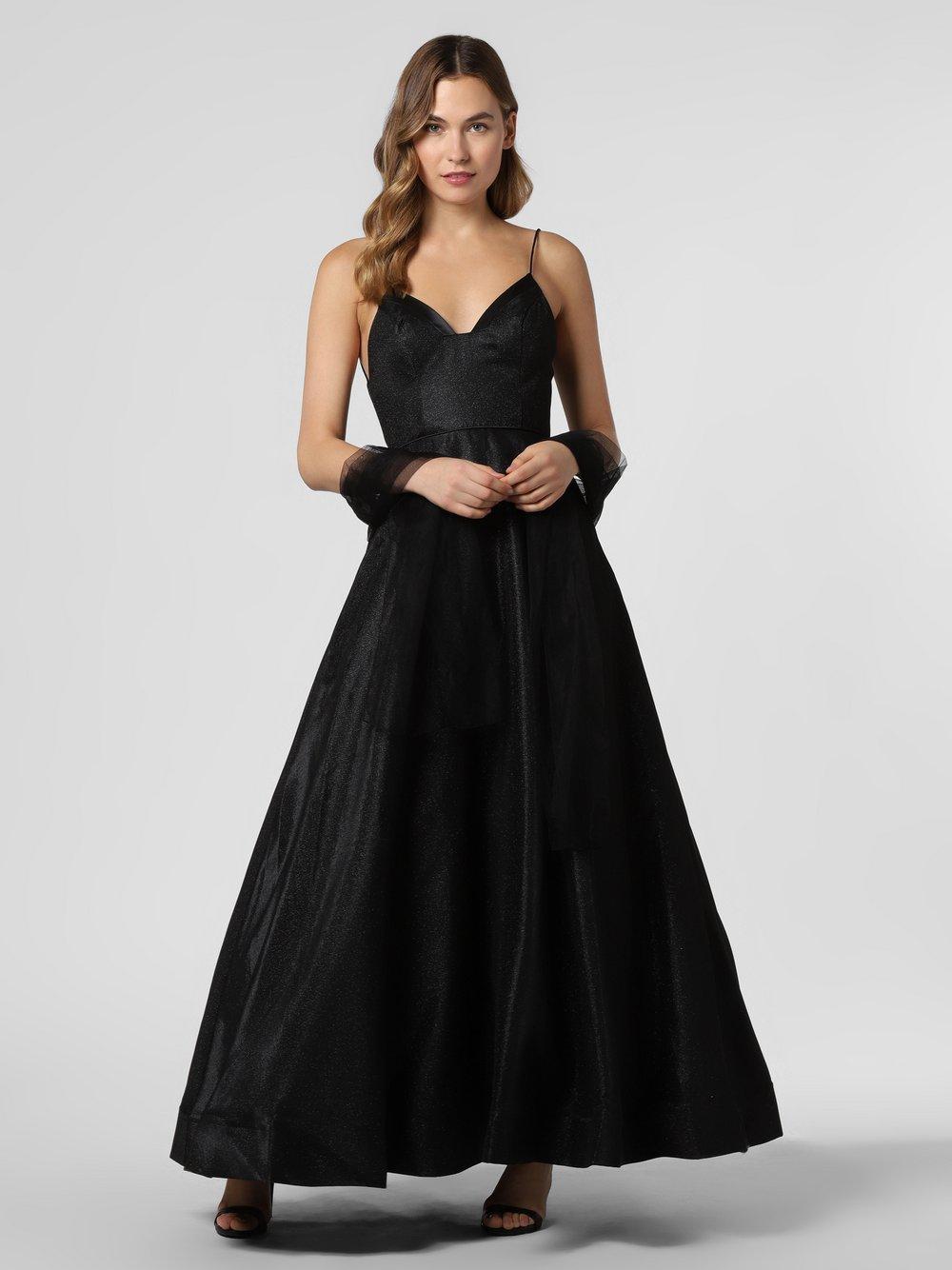 Unique - Damska sukienka wieczorowa z etolą, czarny