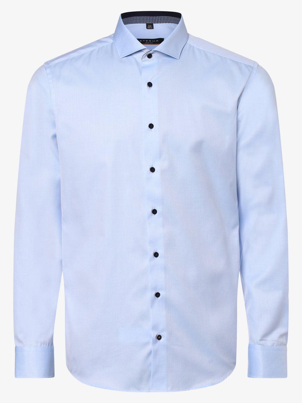 Eterna Slim Fit - Koszula męska – niewymagająca prasowania, niebieski