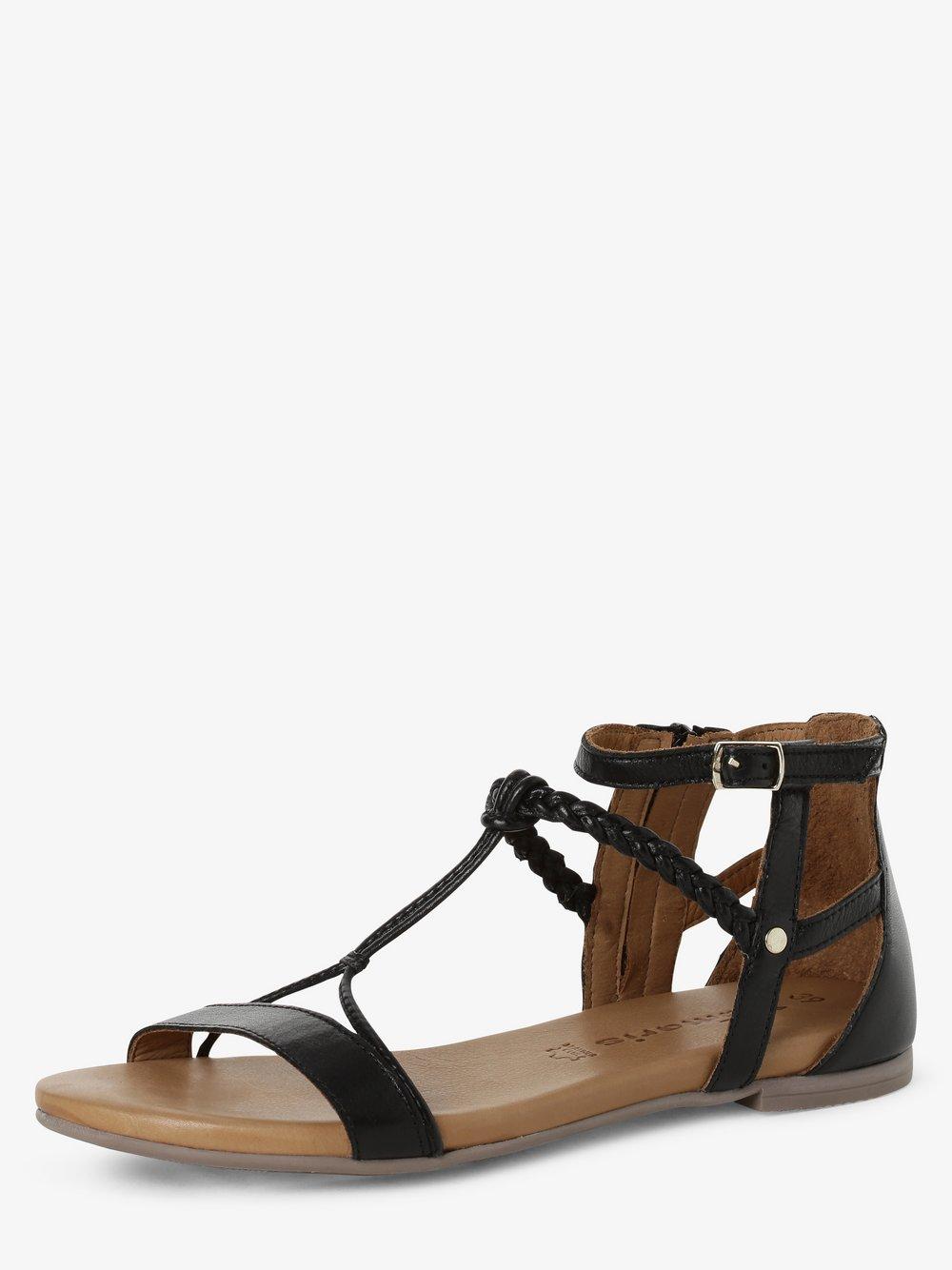 Tamaris - Sandały damskie ze skóry, czarny