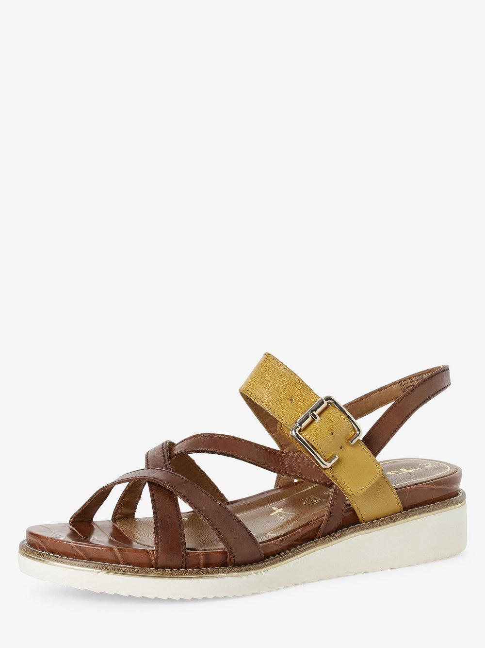 Tamaris - Sandały damskie ze skóry, brązowy