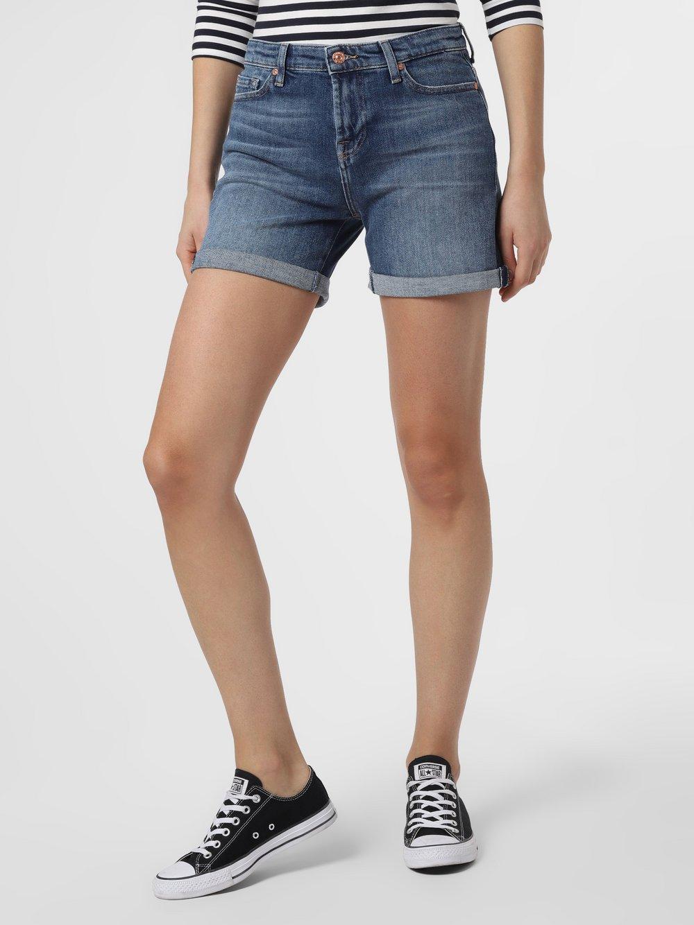 7 For All Mankind – Damskie krótkie spodenki jeansowe, niebieski Van Graaf 467914-0001