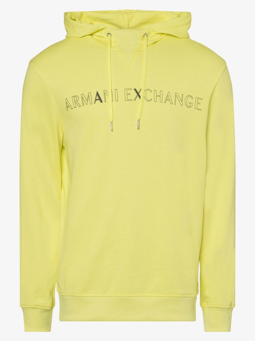 Armani Exchange - Męska bluza nierozpinana, żółty