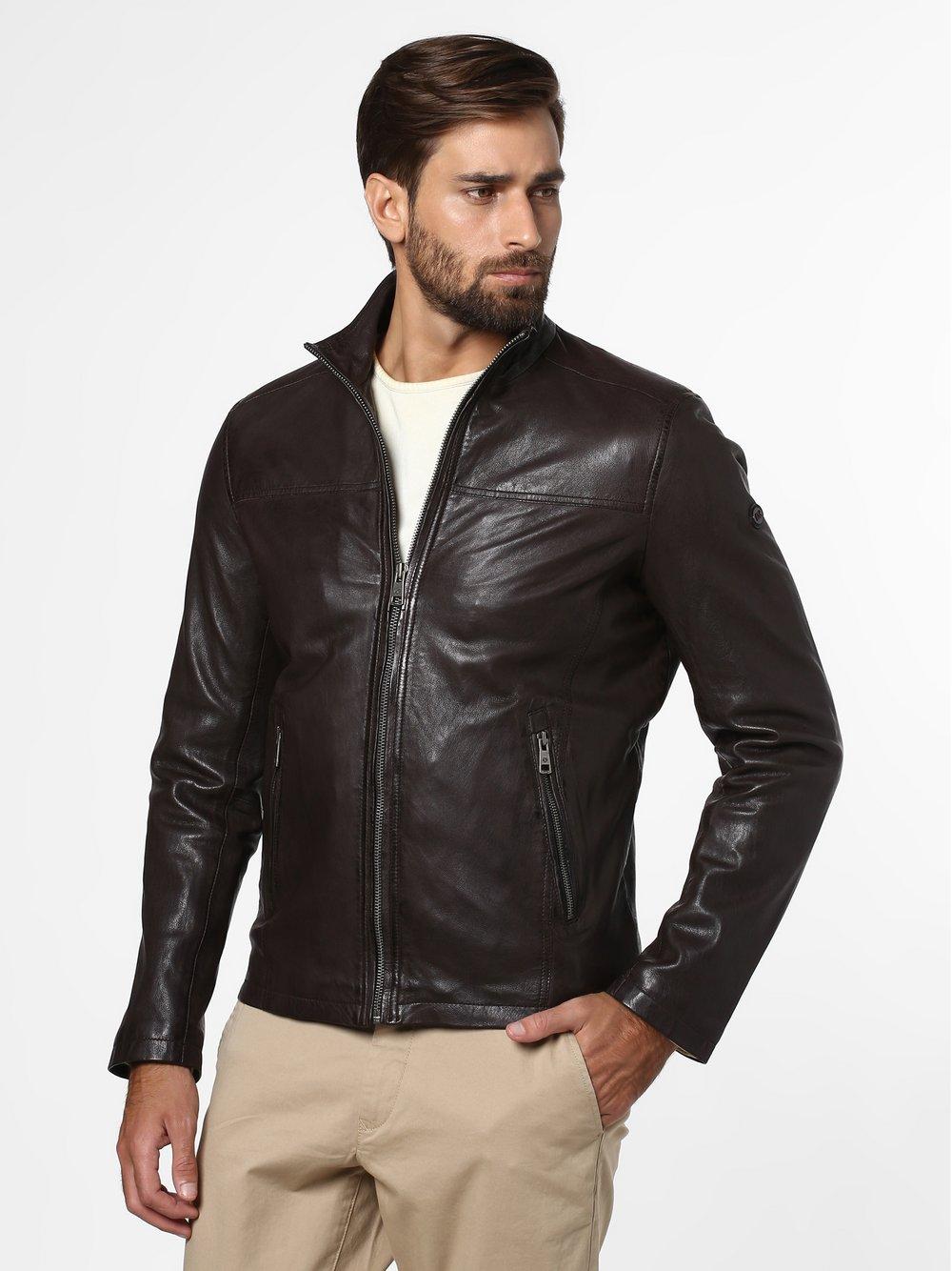 DNR – Męska kurtka skórzana, brązowy Van Graaf 469193-0001-00580