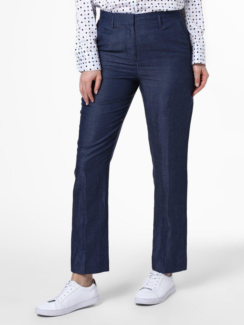 IPURI - Spodnie damskie z dodatkiem lnu, niebieski