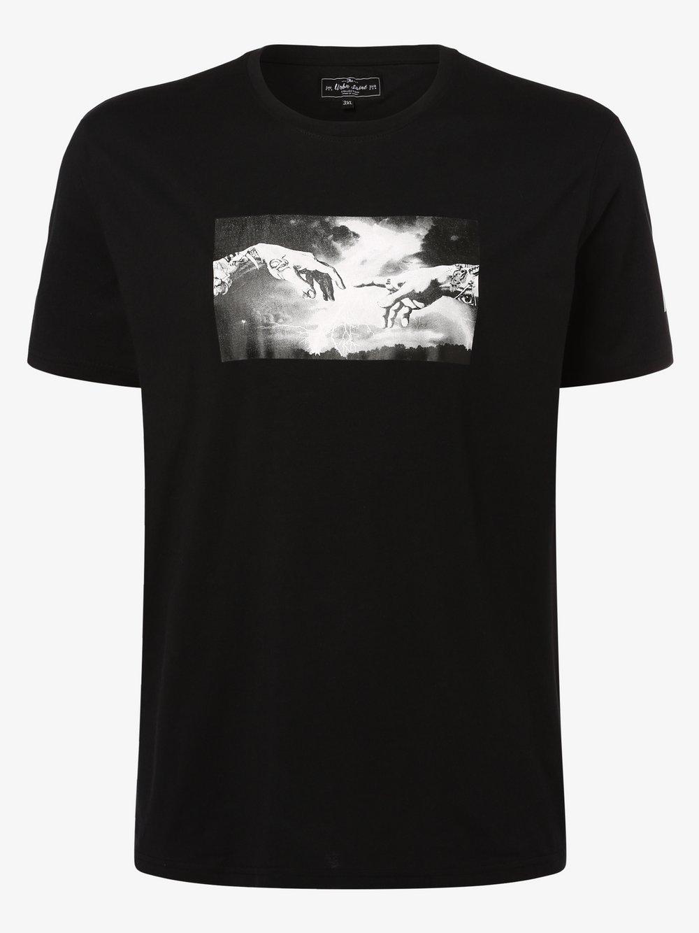 URBN SAINT – T-shirt męski – Usgeorge, czarny Van Graaf 469729-0001-09987