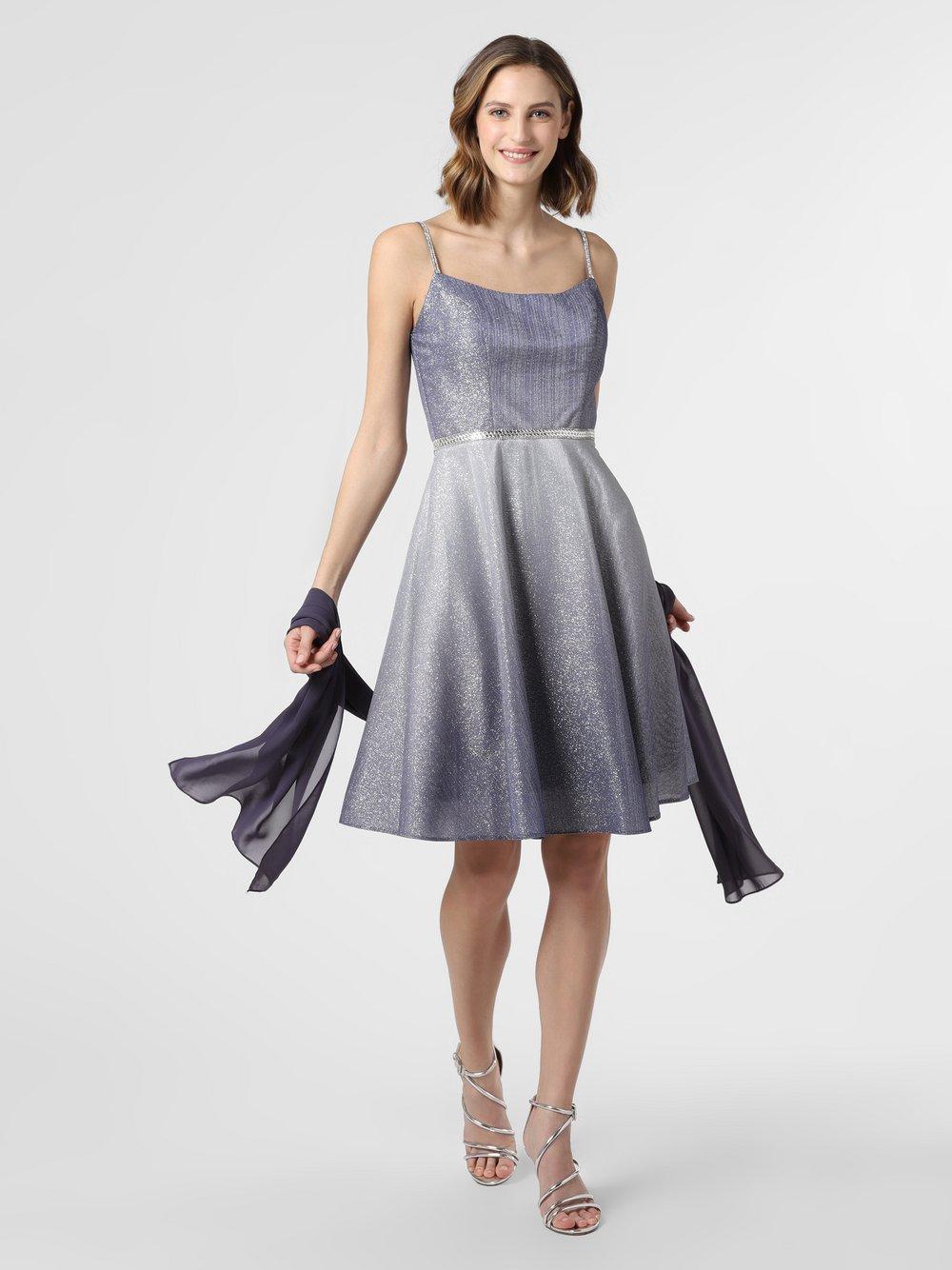 Luxuar Fashion – Damska sukienka wieczorowa z etolą, szary Van Graaf 469742-0001