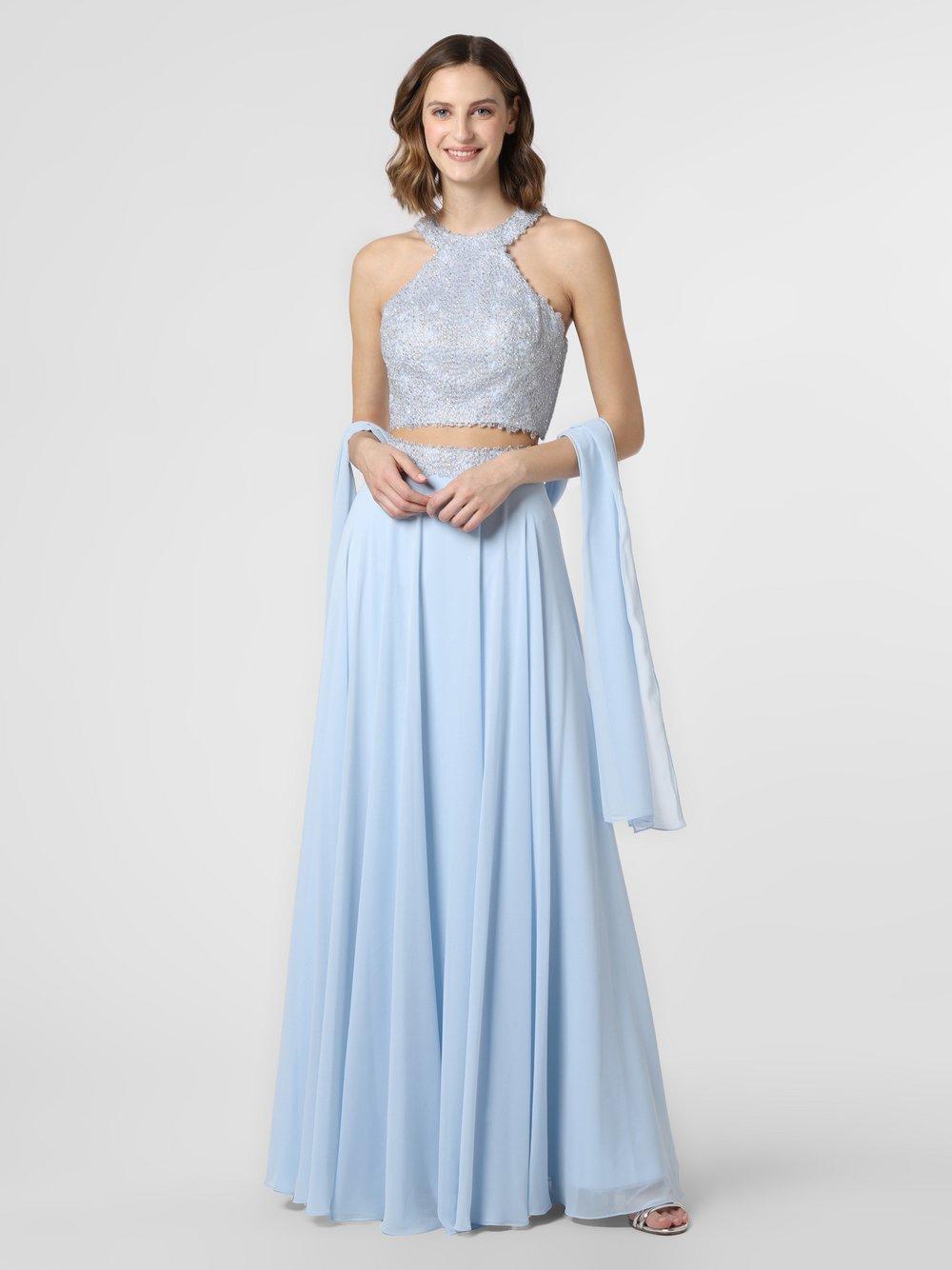 Luxuar Fashion - Damska sukienka wieczorowa z etolą, niebieski