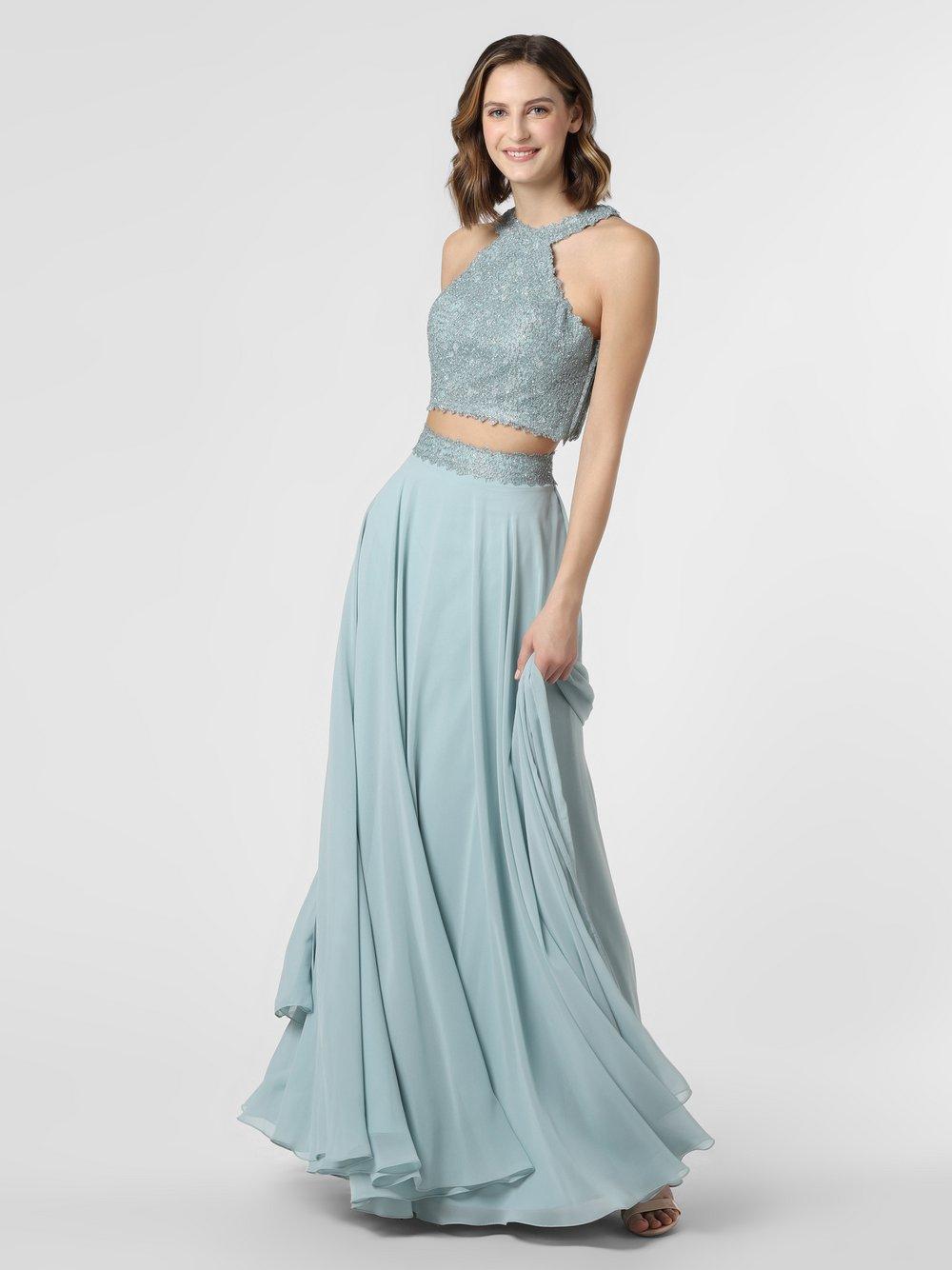 Luxuar Fashion - Damska sukienka wieczorowa z etolą, zielony