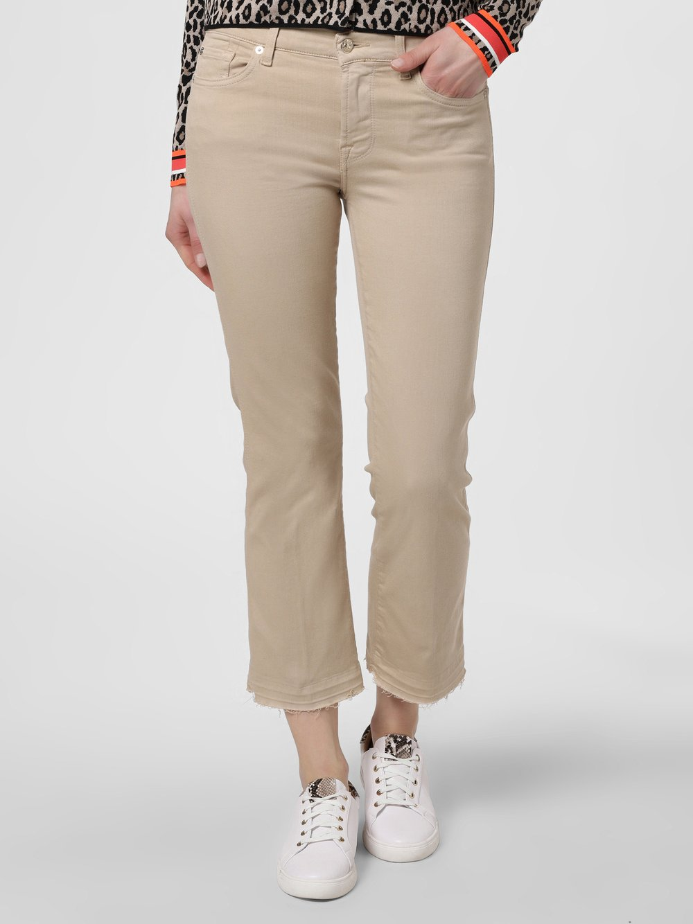 7 For All Mankind – Jeansy damskie – The Ankle Flare, beżowy Van Graaf 471093-0002-00270