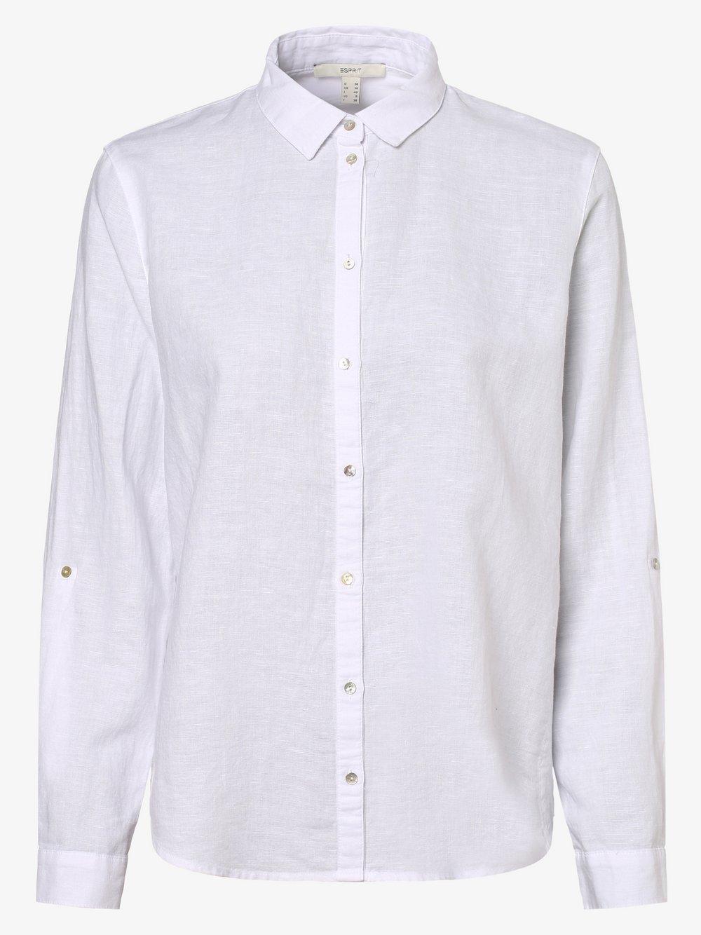 Esprit Casual – Bluzka damska z dodatkiem lnu, biały Van Graaf 471804-0001-00360