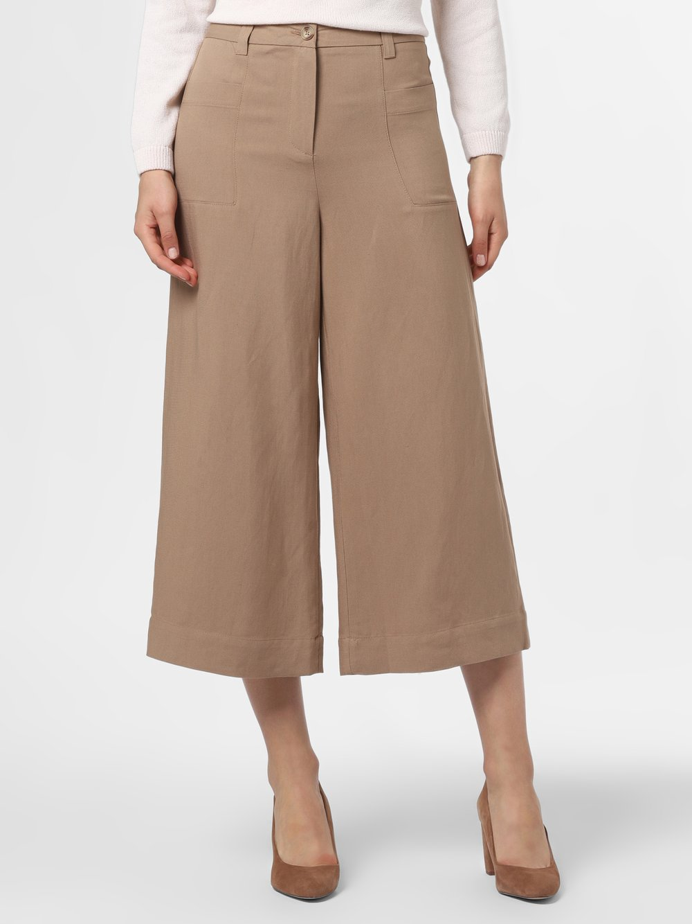 More & More - Spodnie damskie z dodatkiem lnu, beżowy