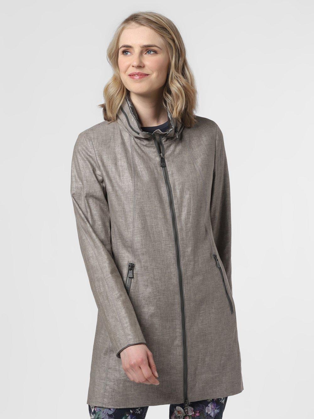 Creenstone - Płaszcz damski z dodatkiem lnu, beżowy