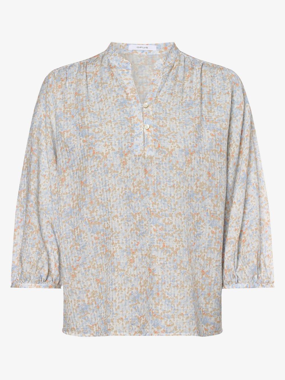 Opus – Bluzka damska – Flanja, niebieski Van Graaf 475137-0001-00440