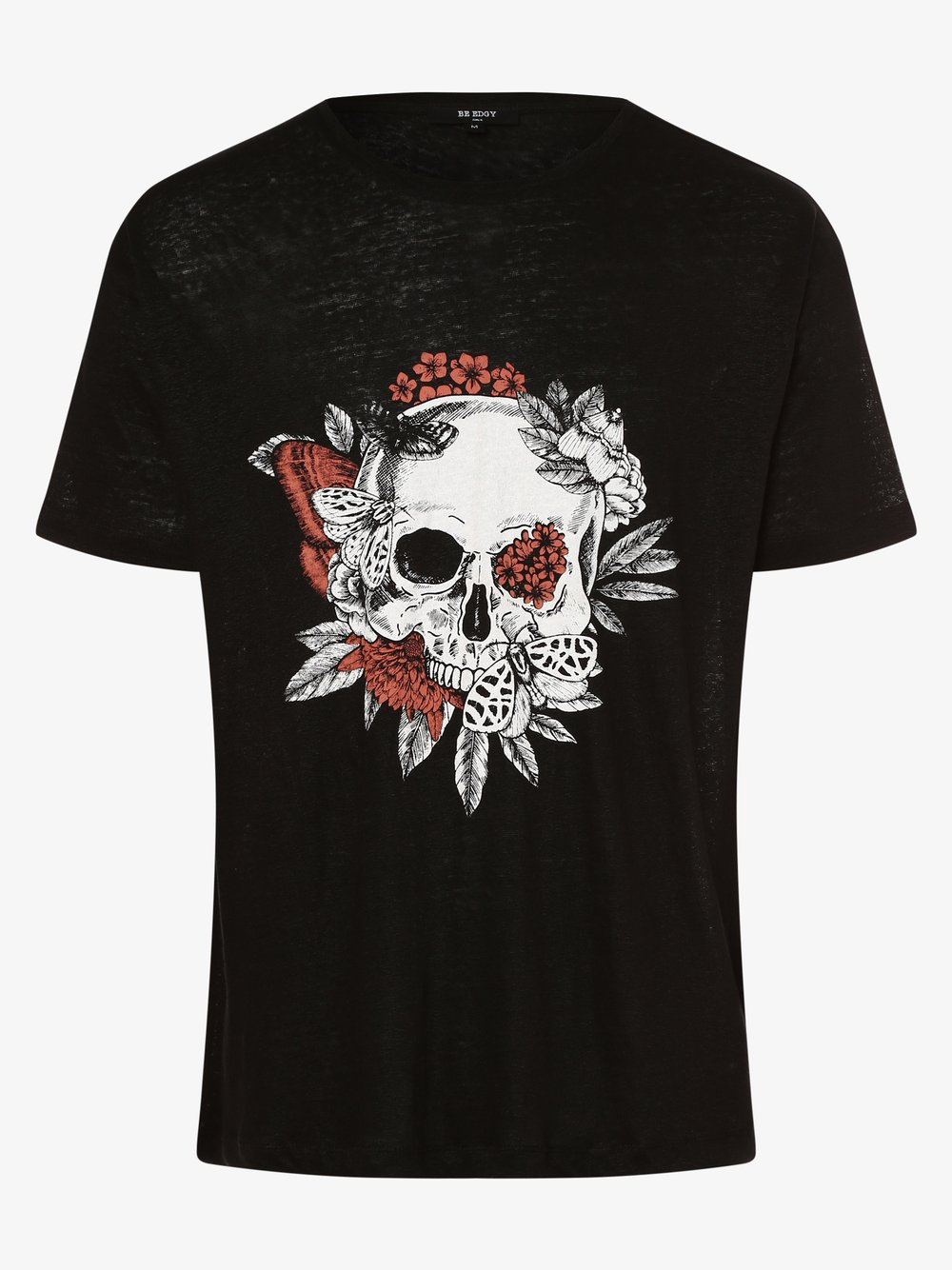 BE EDGY – T-shirt męski z lnu – BEchuck, czarny Van Graaf 475731-0001-09970
