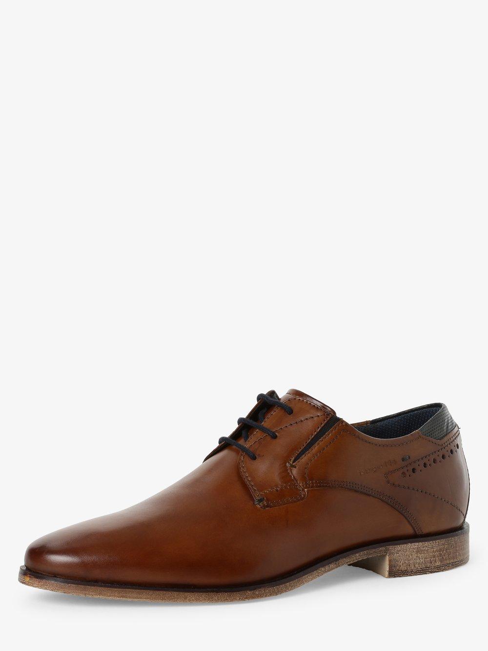 Bugatti - Męskie buty sznurowane ze skóry, beżowy