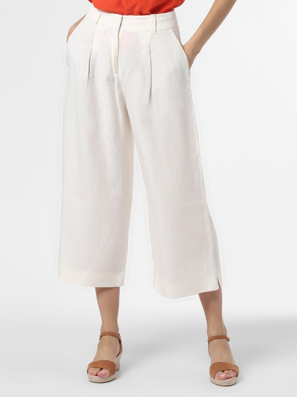 Esprit Collection - Spodnie damskie z dodatkiem lnu, beżowy