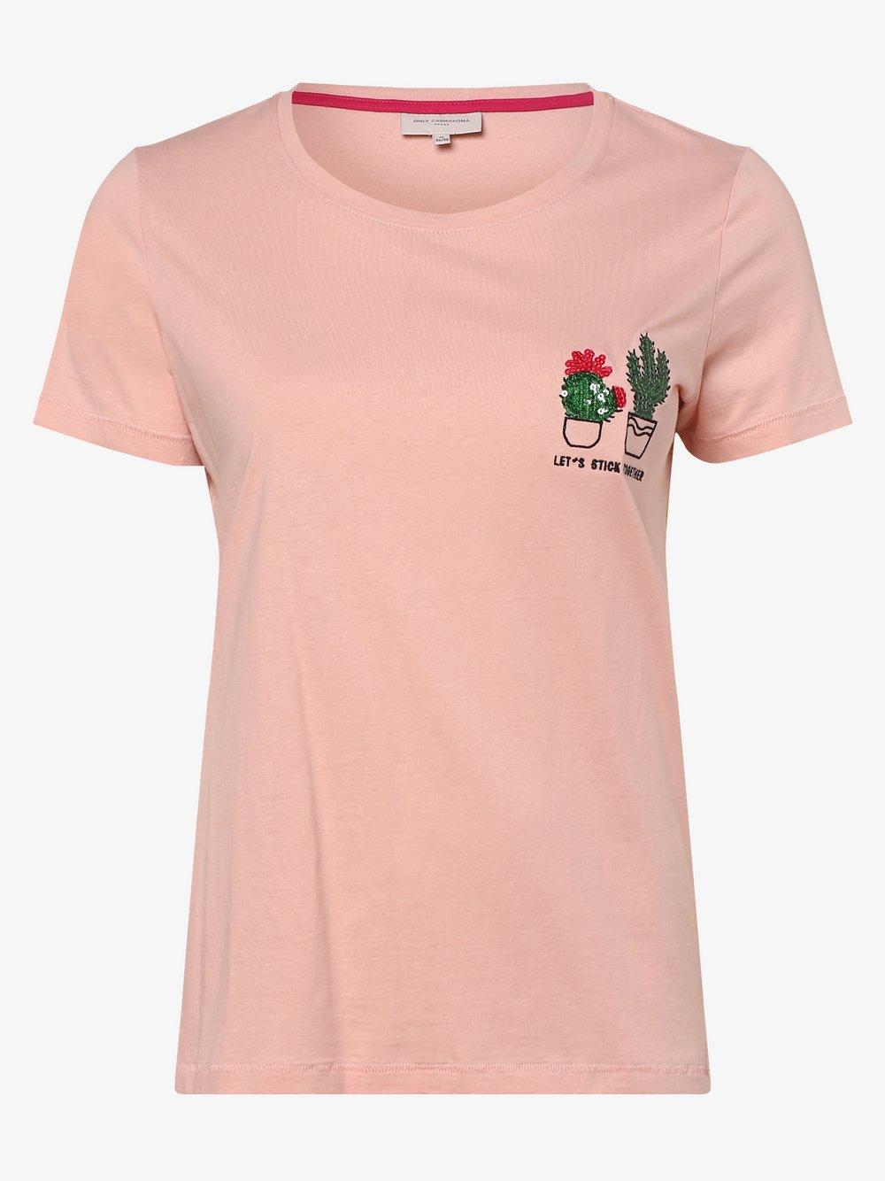 ONLY Carmakoma – T-shirt damski – Carchase Life, różowy Van Graaf 476892-0001