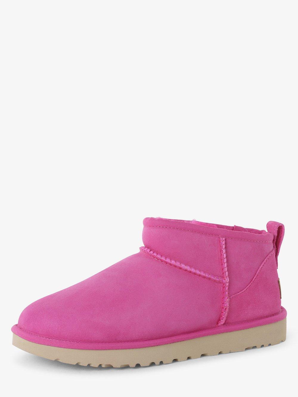 UGG – Skórzane kozaki damskie – Classic Ultra Mini, różowy Van Graaf 478458-0003-00400