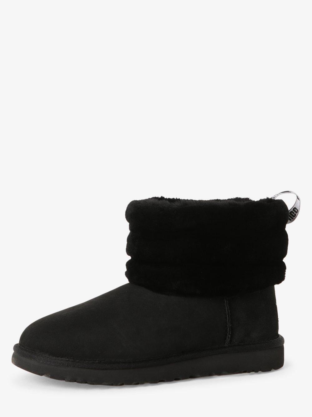 UGG – Skórzane kozaki damskie – Fluff Mini Quilted, czarny Van Graaf 478475-0001-00410