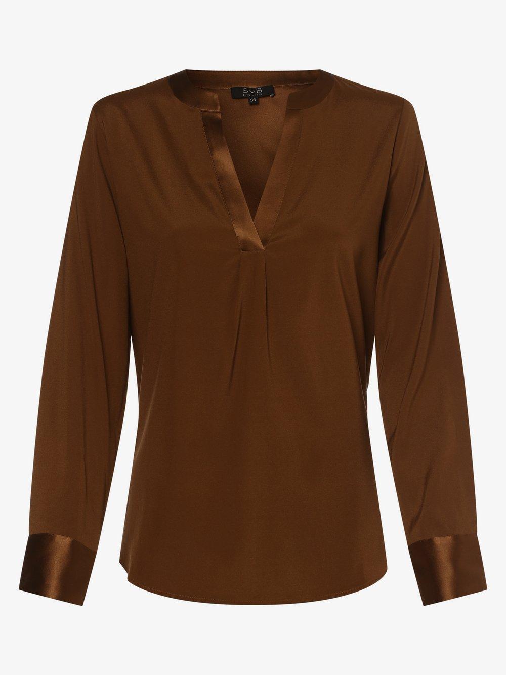 SvB Exquisit – Bluzka damska z mieszanki jedwabiu, brązowy Van Graaf 479062-0002-00420