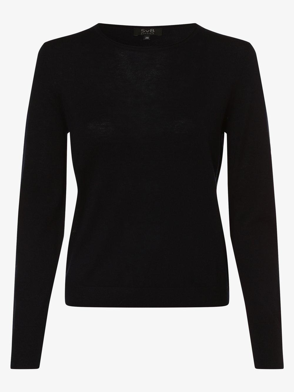 SvB Exquisit – Damski sweter z wełny merino, niebieski Van Graaf 479066-0003-00420