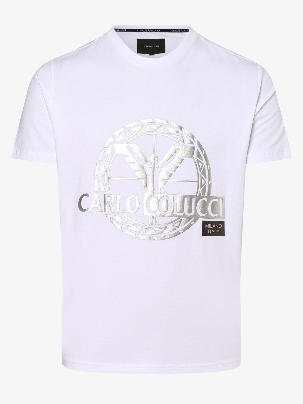 Carlo Colucci – T-shirt męski, biały Van Graaf 482495-0002