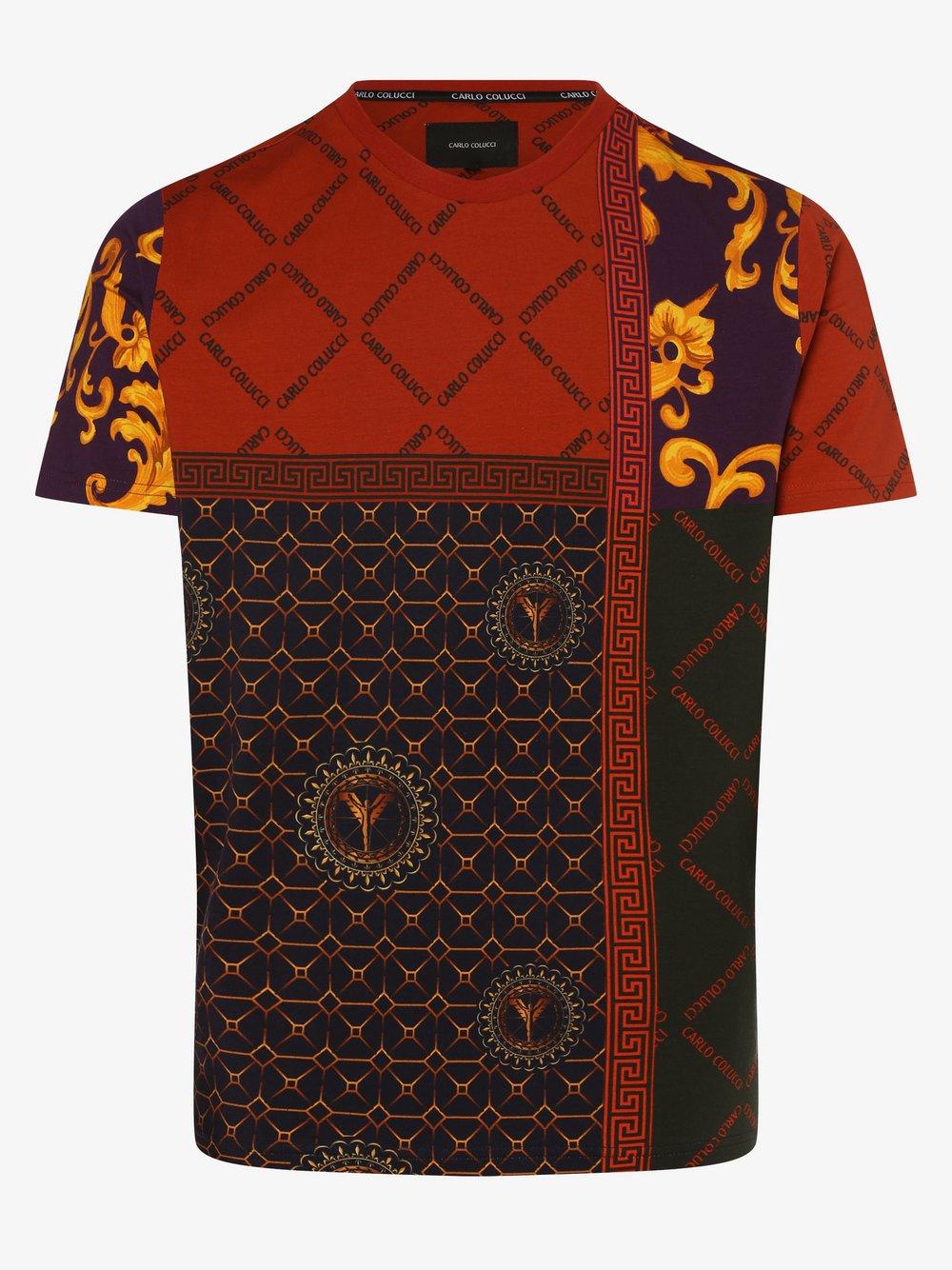 Carlo Colucci – T-shirt męski, pomarańczowy Van Graaf 482497-0001-09970