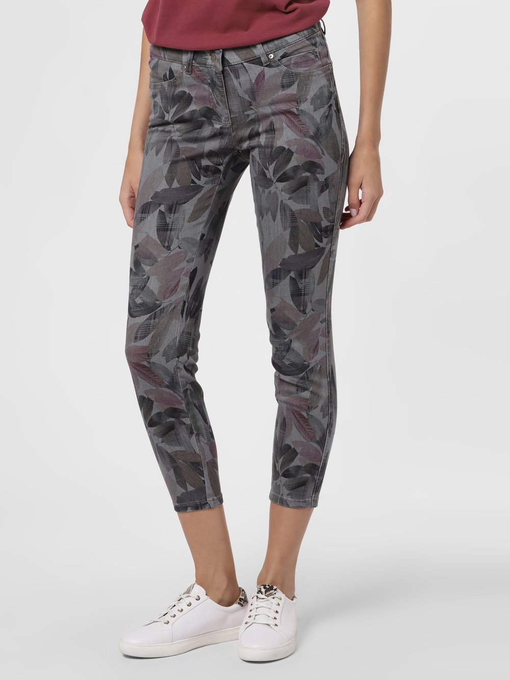 TONI – Spodnie damskie – Perfect Shape Skinny, szary Van Graaf 483469-0001-00200