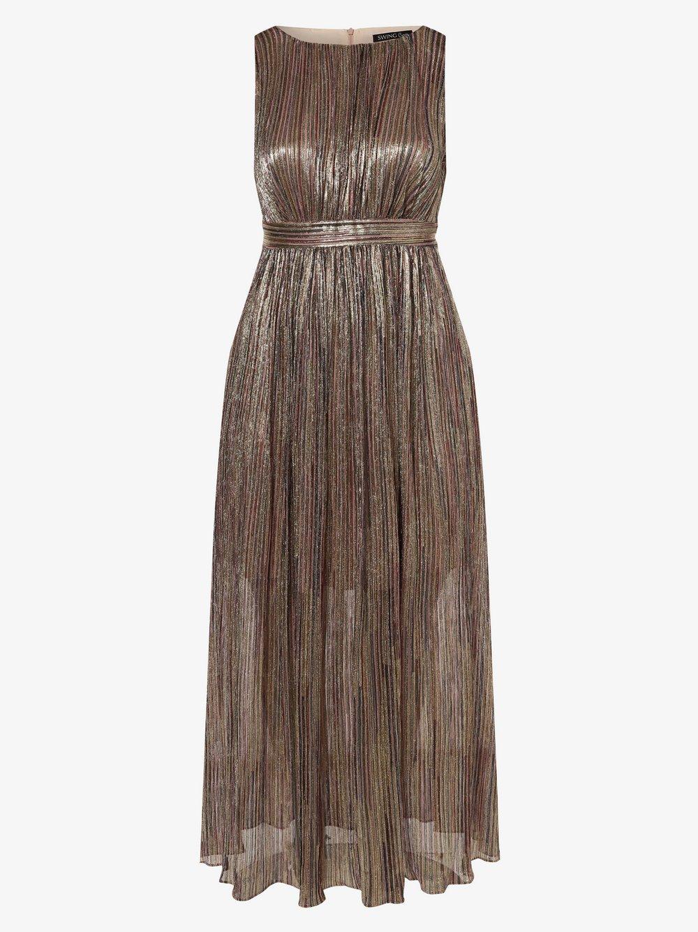Swing Curve - Damska sukienka wieczorowa – duże rozmiary, złoty