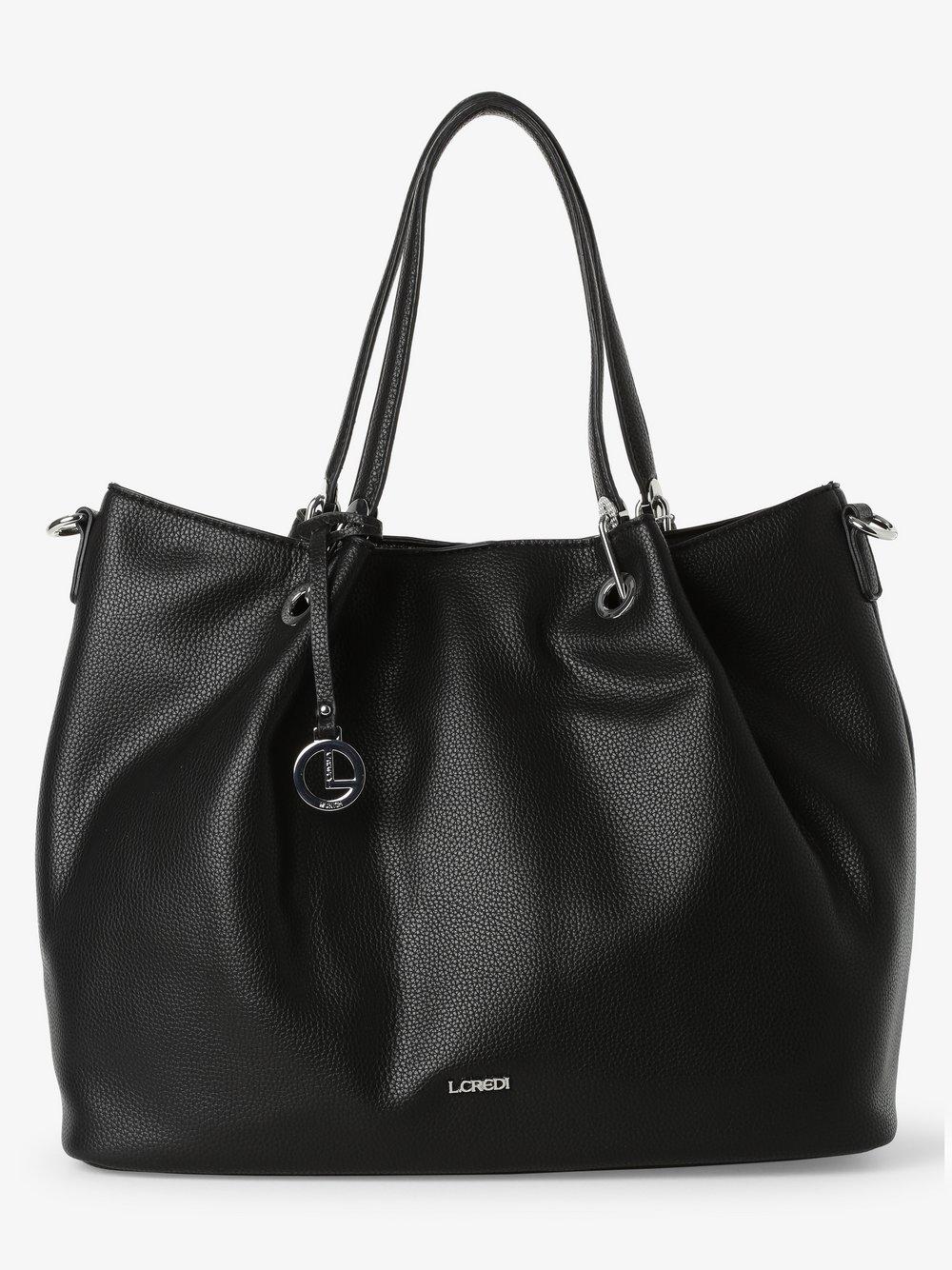 L.Credi - Damska torba shopper z torebką wewnętrzną – Ebony, czarny