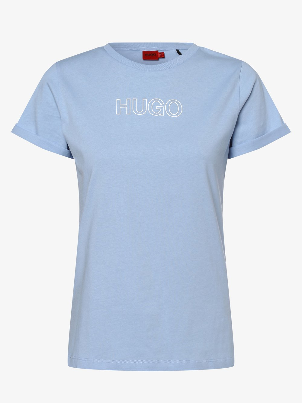 HUGO - T-shirt damski – The Slim Tee 6, niebieski