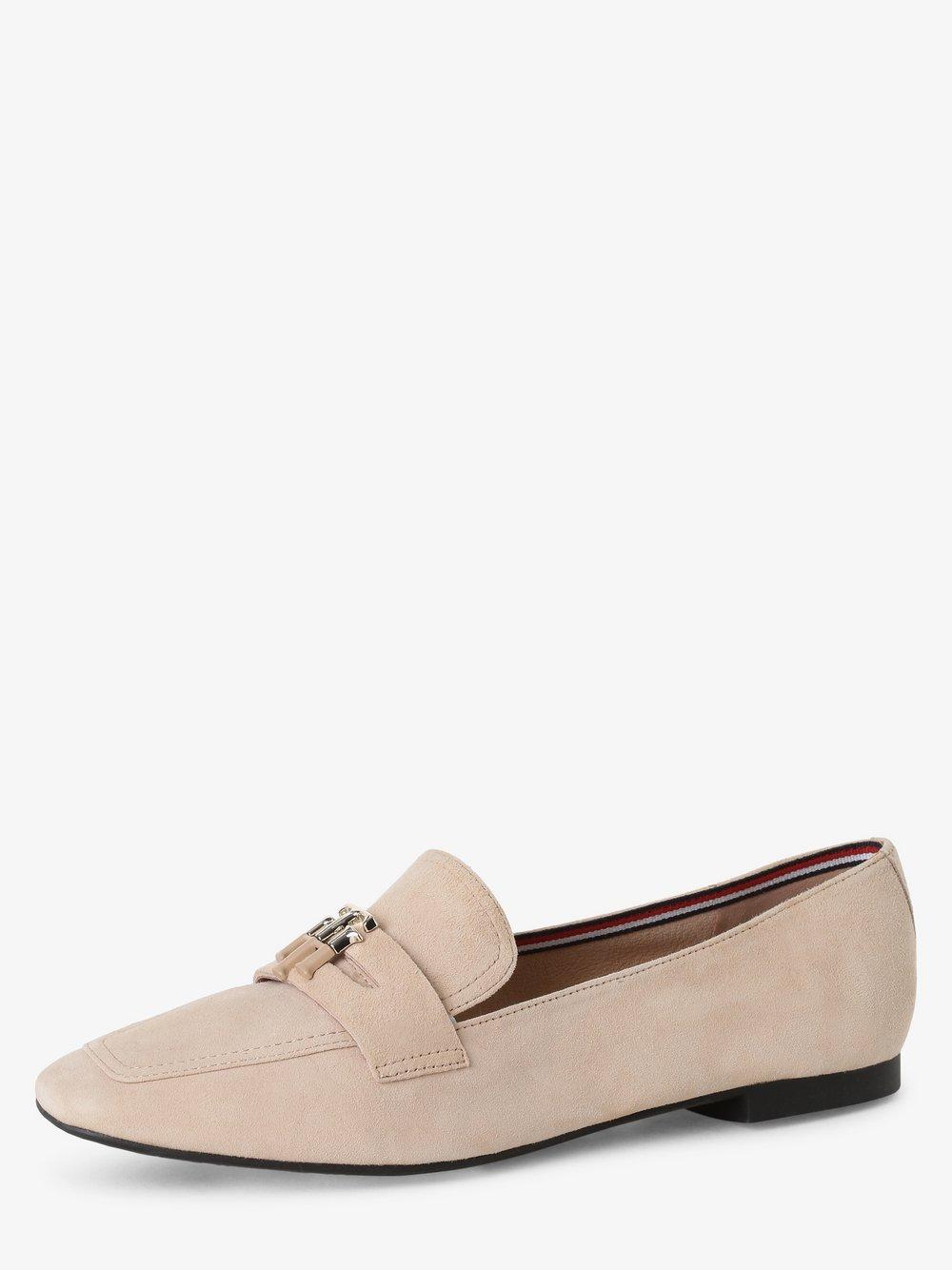 Tommy Hilfiger - Skórzane loafersy damskie, beżowy