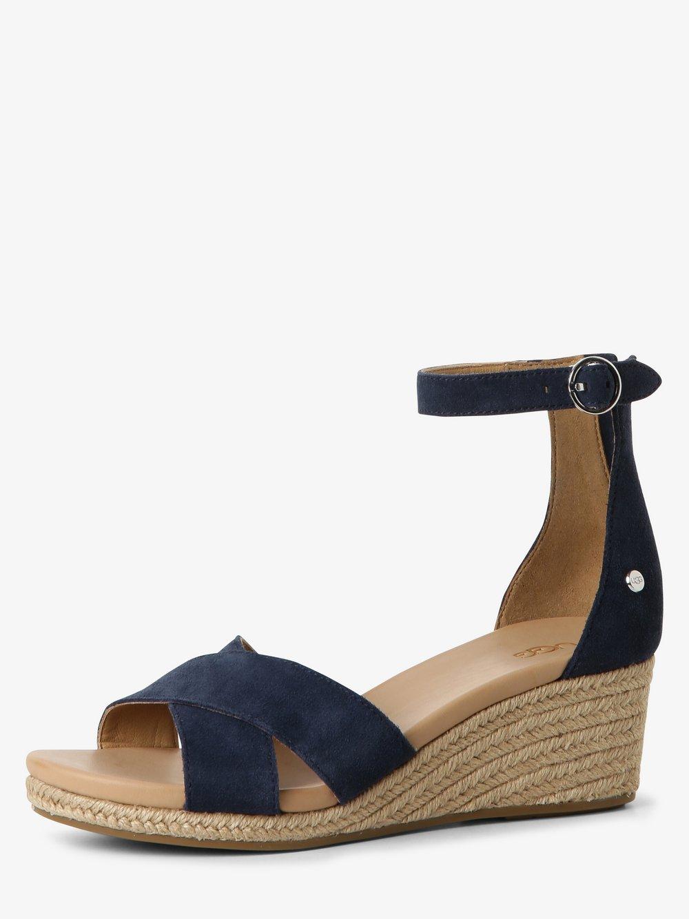 UGG - Sandały damskie ze skóry, niebieski