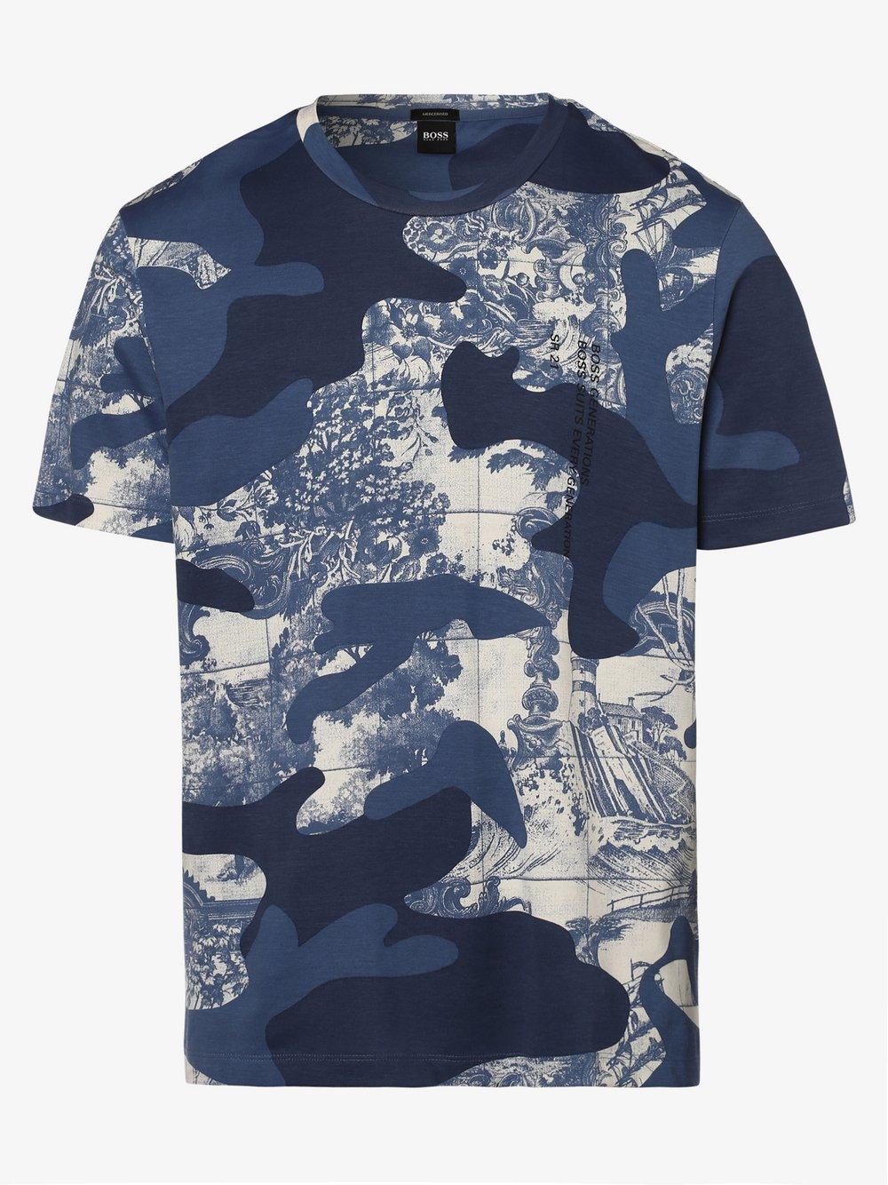 BOSS - T-shirt męski – Tames, niebieski
