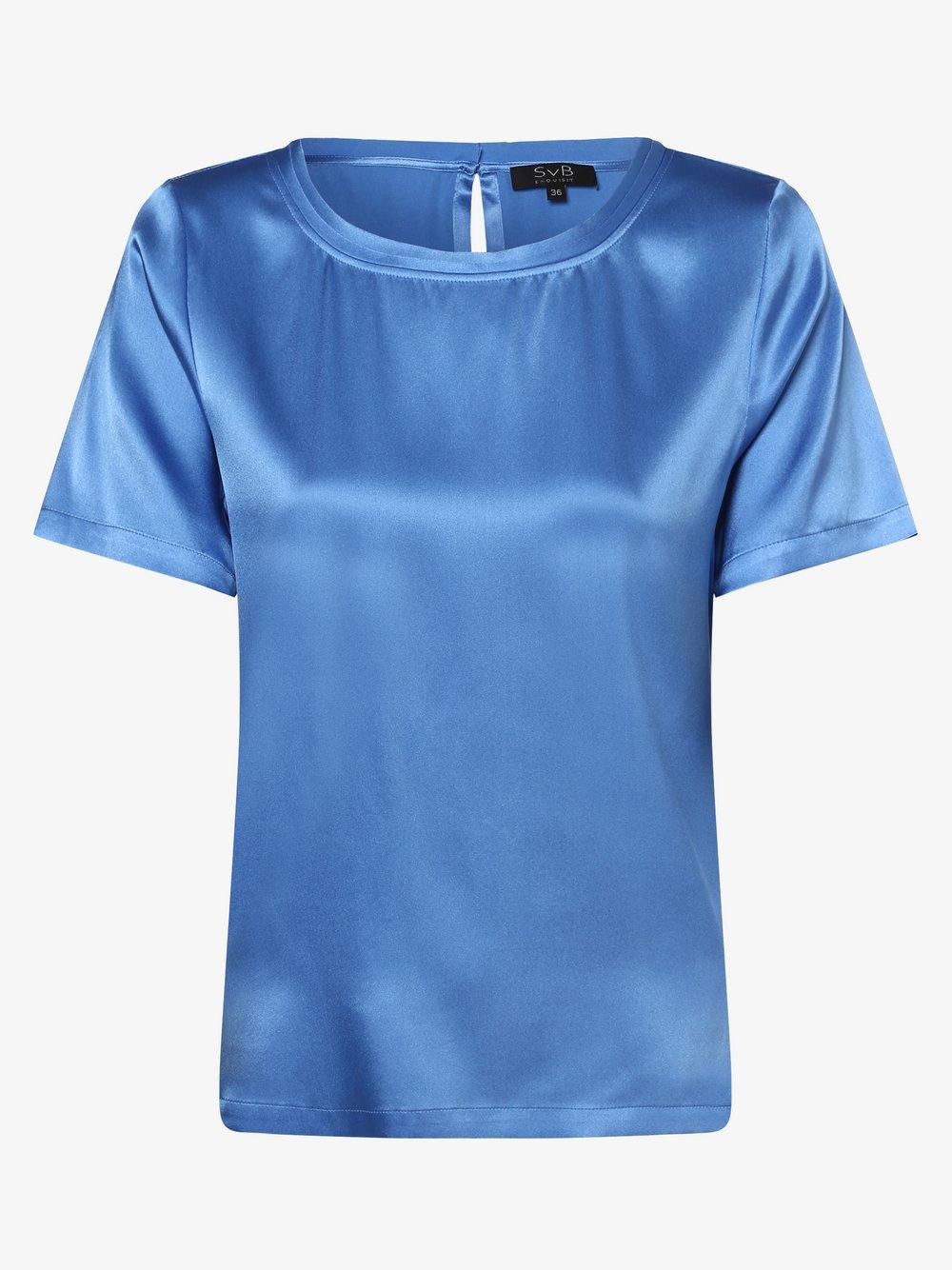 SvB Exquisit - Bluzka damska z mieszanki jedwabiu, niebieski